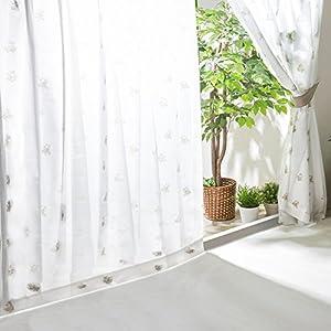 【全30種】レースカーテン UVカット 外から見えにくい 遮熱 洗える 省エネ 幅100cm×丈176cm 2枚組 フラワー