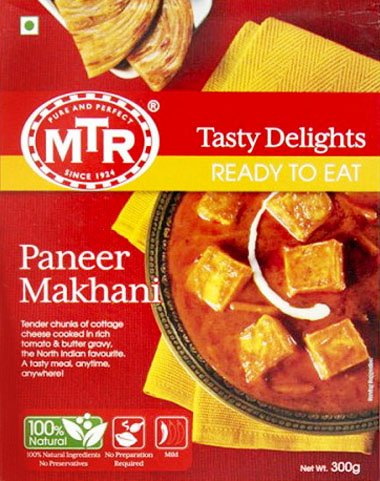 MTR Paneer Makhani パニールマカニ (トマトソースのカッテージチーズカレー) 300g