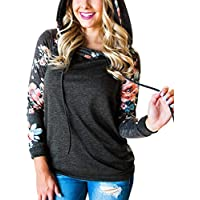 Hibluco Women's Casual Floral Printed Hoodie Pullover Sweatshirts with Pockets