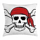 "Pirateスロー枕クッションカバーby Ambesonne、Dead Pirate Skull and CrossbonesレッドバンダナScary Bandit著作権侵害警告アイコン、装飾スクエアアクセント枕、ブラックホワイトRuby 16"" W By 16"" L min_38240_16X16"