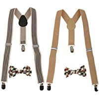 Prettyia 2Styles Toddler Kids Boys Adjustable Suspender Clip-on Braces + Bow Tie Sets