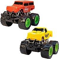 TukTek Kids First Set of 2 Mini World Race Monster Trucks in Assorted Colours Friction Push Toy for Boys & Girls