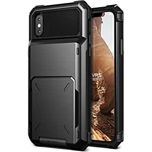 iPhone X ケース カード 収納 耐衝撃 VRS DESIGN Damda Folder 米軍 MIL 規格 背面 カードケース 5枚 衝撃 吸収 ハイブリッド カバー [ iPhoneX ケース (10) 専用 ] ブラック