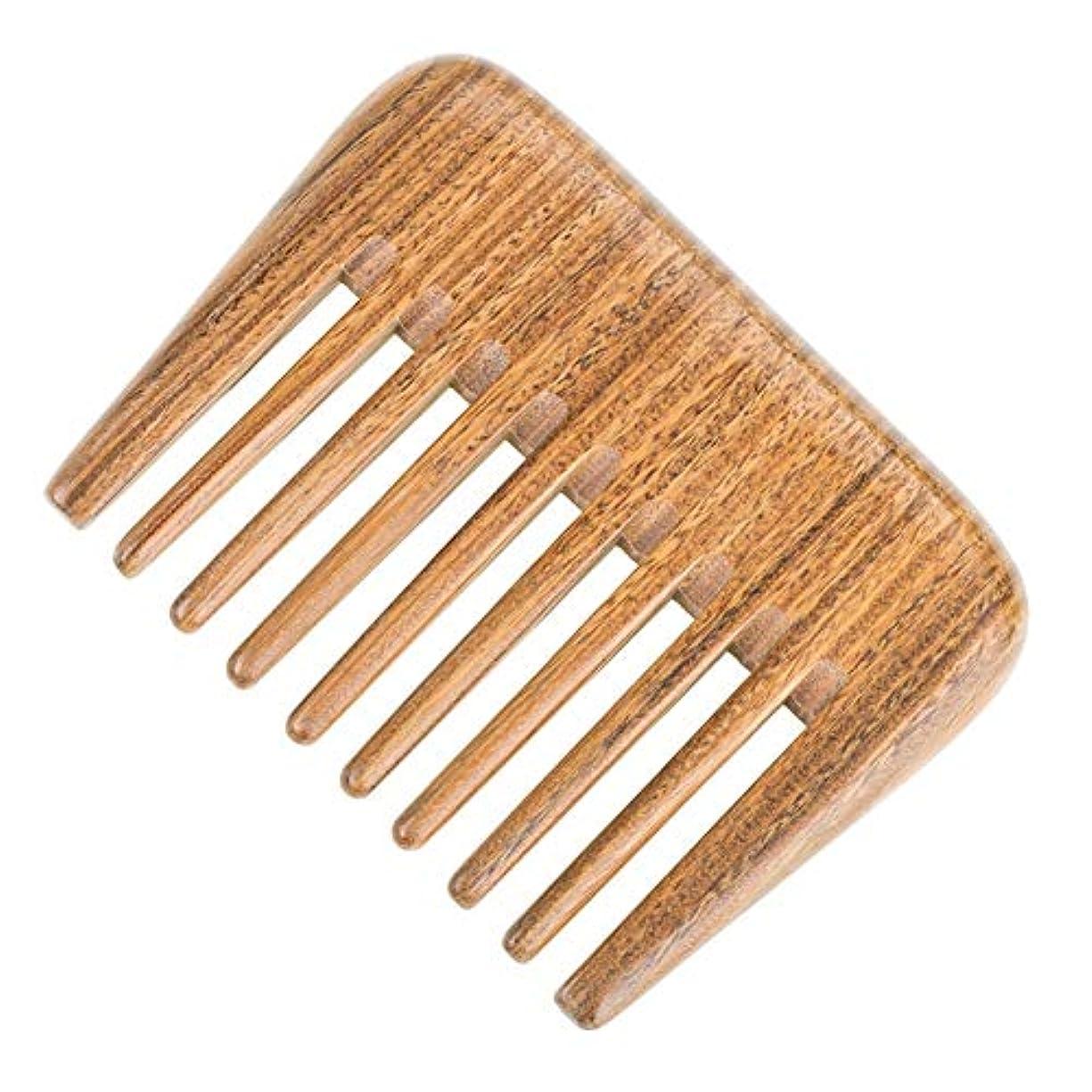 ジャンプクローゼットストレッチGuomao 巻き毛のもつれを解くためのナチュラルグリーンビャクダンの毛の櫛の木製の櫛(広い歯) (Size : 10*7.5 cm)