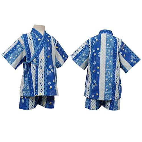 ボーイズキッズ浴衣|甚平[くろわっさんす べべ]男の子キッズ甚平|甚平上下セット|かえる柄|和柄|日本製生地|男児|子供用甚平 130cm ブルー