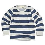 (シスキー) shisky ロングTシャツ 長袖 ワッペン tシャツ キッズ プリントTシャツ ジュニア 長袖シャツ ボーダー 130cm 347-15【3-2】ネイビー