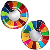 SDGs ピンバッジ 表面が丸みのあるタイプ SDGs バッジ バッヂ 襟章 人気 おしゃれ ギフト 国連本部 2個セット 正規品 ピンバッジの留め具デラックス クラッチ8個付