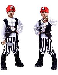 ニヤースさんの店 子供用 海賊服 コスチューム 子供服 男の子 ハロウィン衣装 仮装/パーティーグッズ 子供服 4点セット 海賊 イラスト ハロウィンパーティー