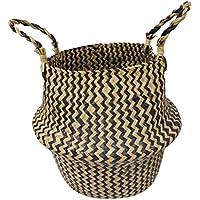 F Fityle ラタン籐 ハンド 織り バスケット ガーデン 花瓶 ポットホルダー 盆栽ホルダー 全3種 - 2
