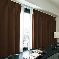窓美人 エール 遮光性カーテン&UVカットミラーレース 各2枚 幅100×丈110(108)cm チョコレート