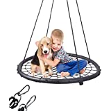 "Mothers Day and Fathers Day Gifts Extra Large 40"" Diameter Kids Web Net Swing Height Adjustable Children's Day, Easy Installation Tree Swing Set for Playground Indoor and Outdoor(Including 2 Carabiners Free)"