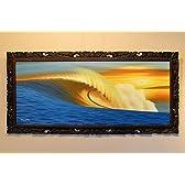 絵画 海 波 (134×63cm 1) 【 アート 壁掛け インテリア アジアン雑貨 】