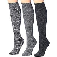 Tipi Toe Women's 3 Or 6-Pairs Ragg Marled Ribbed Mid-Calf High Wool-Blend Boot Socks