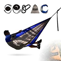 Serac [丈夫なハンモック&ストラップバンドル] クラシック ポータブル シングル キャンピング ハンモック サスペンションシステム付き - バックパック、旅行、キャンプに最適
