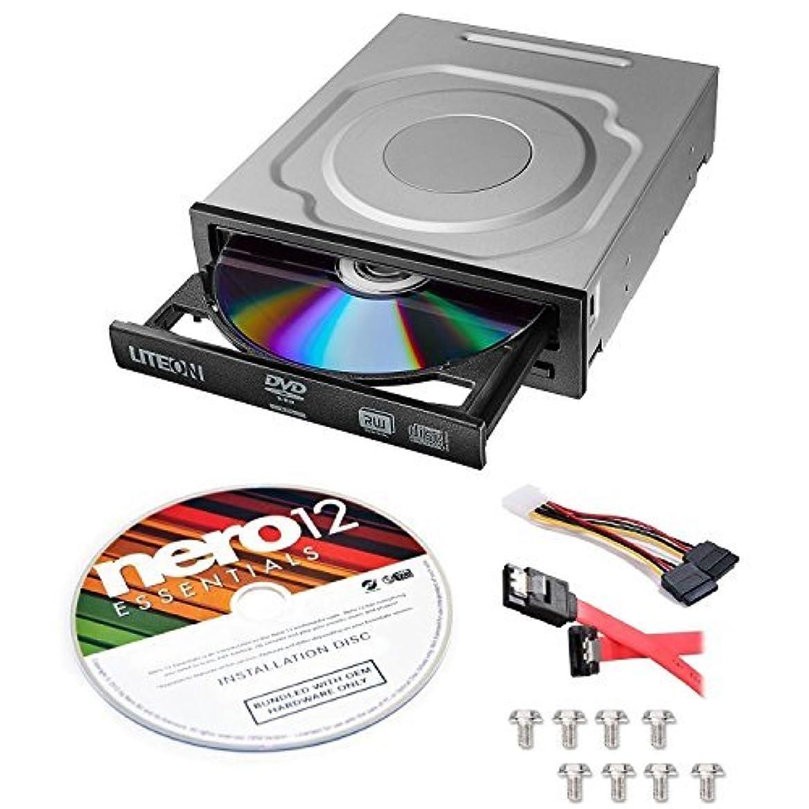 女王不完全なアルコールLite-On 24X SATA Internal DVD+/-RW Drive Optical Drive IHAS124-14 + Nero 12 Essentials Burning Software + Sata Cable Kit [並行輸入品]