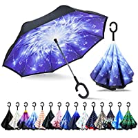 ZOMAKE Double Layer Inverted Umbrella Cars Reverse Folding Umbrella, UV Protection Windproof Large Straight Umbrella with C-Shaped Handle