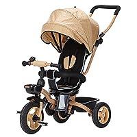 三輪車- キッズトリシクルキッズトライク4 in 1子供の自転車3歳から5歳のベビーキャリッジ子供用自転車 (色 : グレー)