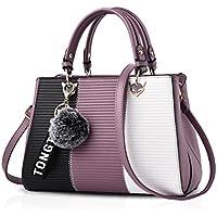 NICOLE&DORIS 爽やかなハンドバッグ 斜め掛けバッグ ファーチャーム かわいい ポンポン 鞄 シンプル ショルダーバッグ レディース 通勤 デート PUレザー