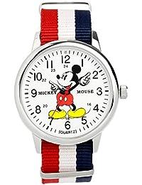 [ディズニー]Disney ミッキーマウス MickeyMouse トリコロール 腕時計 カラフル ウォッチ NATO ナイロンベルト メンズ レディース キッズ [並行輸入品]