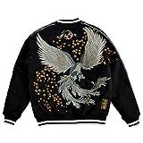 (カラクリタマシイ)絡繰魂 桜鳳凰刺繍中綿スカジャン 和柄 和風 別珍 ベロア スーベニアジャケット 264165 ブラック XL
