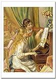 世界の名画・ルノワール ピアノを弾く二人の少女 ジークレー技法高級ポスター (B4/364ミリ×257ミリ)