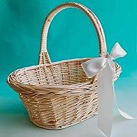 柳素材のバスケットLサイズ(ミルキーホワイトのリボン付)約幅36×奥行き27×高さ34cm【プチギフト用かご 結婚式 フラワーシャワー 籐製の籠 ディスプレイ】