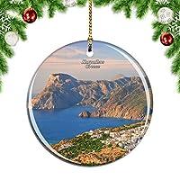 Weekinoギリシャカルパソスクリスマスデコレーションオーナメントクリスマスツリーペンダントデコレーションシティトラベルお土産コレクション磁器2.85インチ