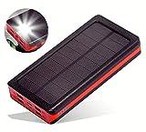 ソーラーチャージャー モバイルバッテリー 大容量 ソーラー充電器 24000mah iphone 超大容量 充電バッテリー 携帯充電器 ソーラーパネル IPX6防水 LEDライト付き 4台同時充電 太陽光で充電でき スマホ 急速充電 太陽エネルギーパネル 4出力(2.1A)と2入力(5A/2A)搭載 micro USB ポート lightning TYPE-C iPhone / iPad / Android Galaxy Xperia 各種機種対応 地震防災 災害 旅行 アウトドアに大活躍 レッド