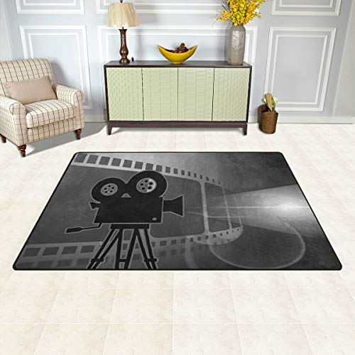 バララ(La Rose) ラグ カーペット マット 洗える おしゃれ 絨毯 黒白 映画 上映 絵画 こども部屋 ホットカーペット ウォッシャブル サラふわ触感 折り畳み可 床暖房 対応 約幅152x99cm