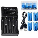 4本 16340 充電池 3.7V RCR123A 1000mAh リチウムイオン電池 GT USB多用途電池充電器 電池ケース 懐中電灯、ヘッドライト、カメラに適用 GRACETOP GT-16340P4