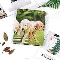 IPadケース スマートカバー アイパッドケース タブレットカバー アイパッド第四世代 第三世代 庭の春に優しい家族の友人のゴールデン・リトリーバーの子犬の愛らしいグループ