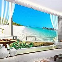 Hxcok カスタムサイズの自己粘着壁紙寝室の壁3Dバルコニービーチシービューリビングルームソファテレビの背景写真壁壁画-400X280CM