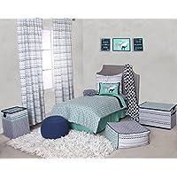 Bacati Noah Tribal 4 Piece Toddler Bedding Set Cotton Percale, Mint/Navy [並行輸入品]