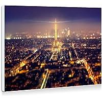 フランス、パリ、都市、エッフェル塔、ライト、美しい夜 - 壁の絵 壁掛け ソファの背景絵画 壁アート写真の装飾画の壁画 - (40cmx30cm)