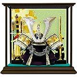五月人形 兜 コンパクト飾り ケース 当店 プレミアム限定兜ケース飾り (銀兜, 緑寿柄)
