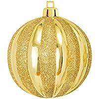 80mmストライプボール(グリッター)(6ケ/パック)(ゴールド/ゴールド)【クリスマスオーナメント(ボール)】