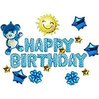 しあわせ倉庫 熊さんが祝う 風船 誕生日 飾り アルミ バルーン 25ピース 空気入れ セット (男の子)