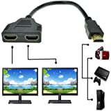 (Black) - ZY HDMI Male to Dual HDMI Female 1 to 2 Way HDMI Splitter Adapter Cable for HDTV, Support Two TVs at The Same Time,