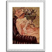 メアリー・カサット「The Cup of Tea. Ca. 1880-81 」 インテリア アート 絵画 プリント 額装作品 フレーム:装飾(白) サイズ:S (221mm X 272mm)