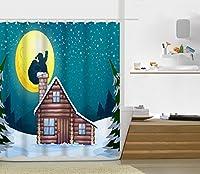 Bathroom Shower Curtain 夜 雪 サンタクロース  シャワーカーテン 風呂 ユニットバス 間仕切り 防水 防カビ リング付属 180×210cm