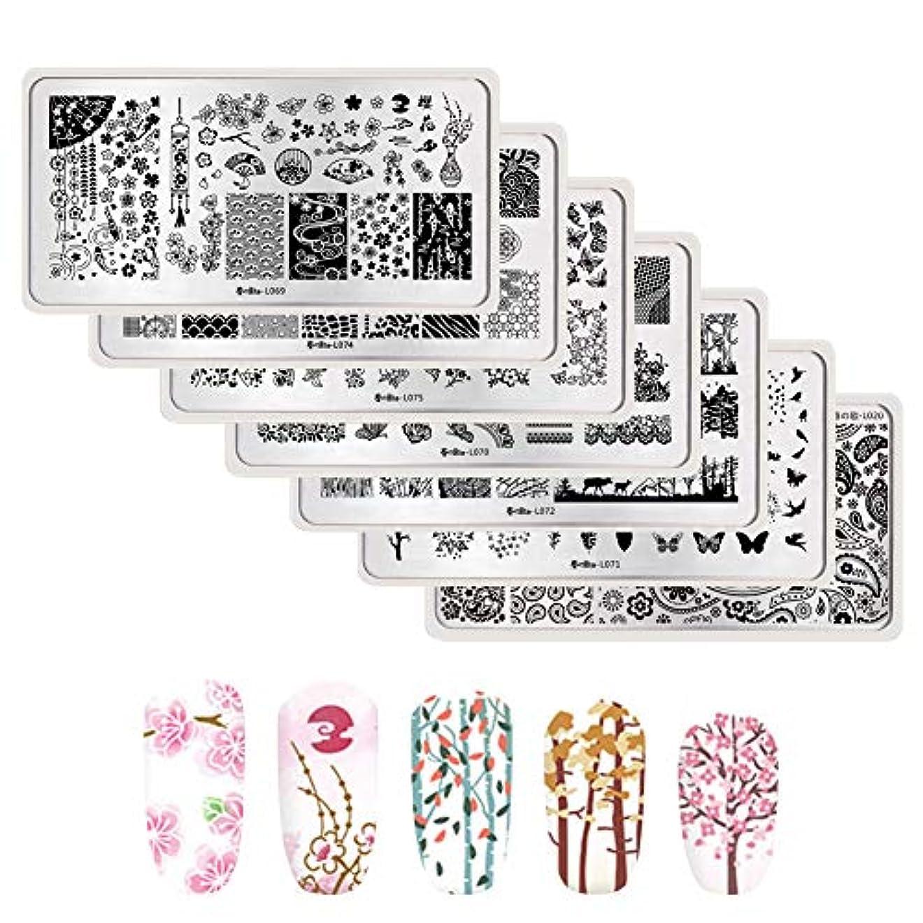 電卓接続哲学春の歌 スタンプネイルプレート 7枚セット ネイルプレート 和柄 花 レース スタンピングプレート スタンピングネイル 12cm*6cm (花 7枚セット)