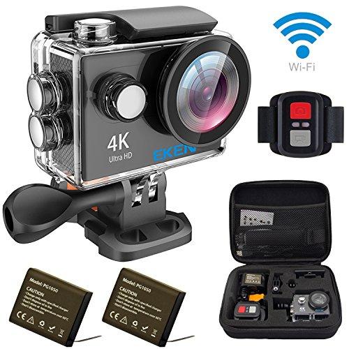 EKEN H9R アクションカメラ「メーカー直販」 4K Full HD Wifi連動 25fps録画 専用ケース スポーツカメラ 映像再生 170°広角レンズ リモコン付き 完備セット(ブラック)