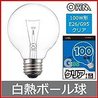 白熱ボール電球 100W E26 G95 クリア LB-G9695K-C 06-0549