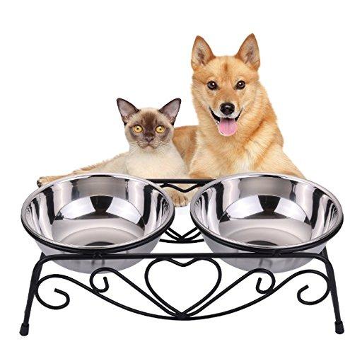 VIVIKO ペット用品 犬のボウル 猫のボウル ご飯入れ 食器 食事 台 高品質ステンレス製 餌やり 水やり 洗いやすい 清潔 (L)