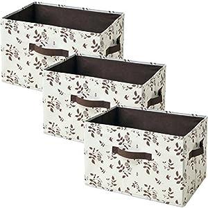 山善(YAMAZEN) どこでも収納ボックス(3個セット) アイボリー(茶リーフ柄) YTCF-3P(IV/BRLF)