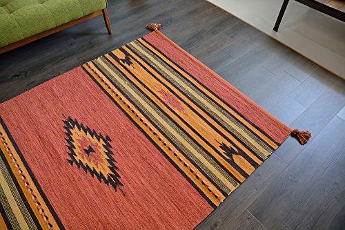 インド キリム ラグ 130x190cm ラスト 洗える 折り畳み可能 アジアン エスニック