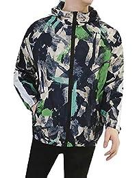 maweisong メンズロングスリーブ軽量フルジップフード付きスウェットシャツ迷彩