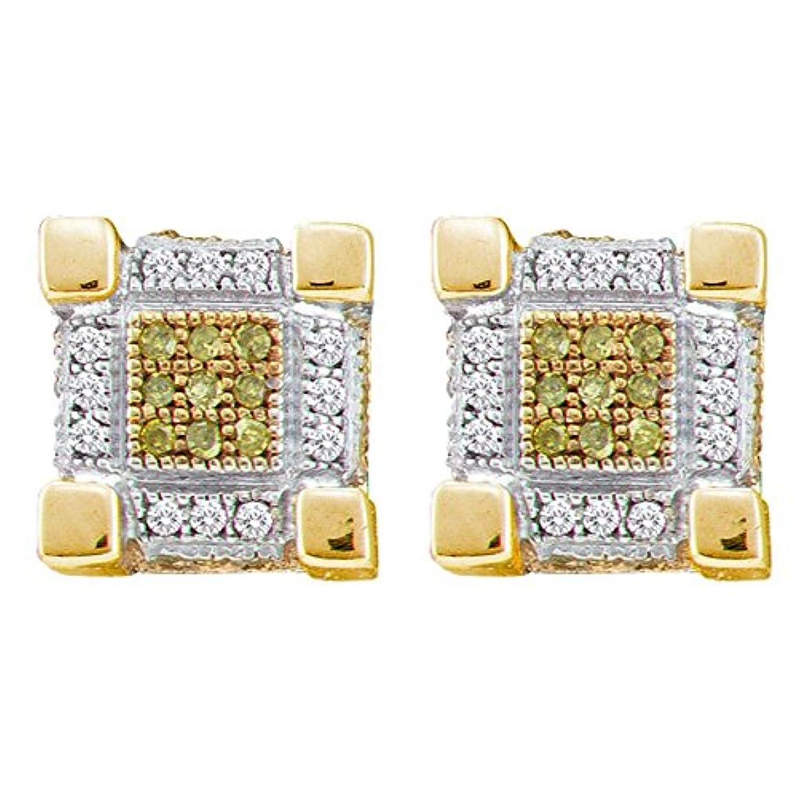 哲学的曲げるもの10kt イエローゴールド メンズ ラウンド イエローカラー 強化ダイヤモンド 3D キューブスタッドピアス 1/4カラット