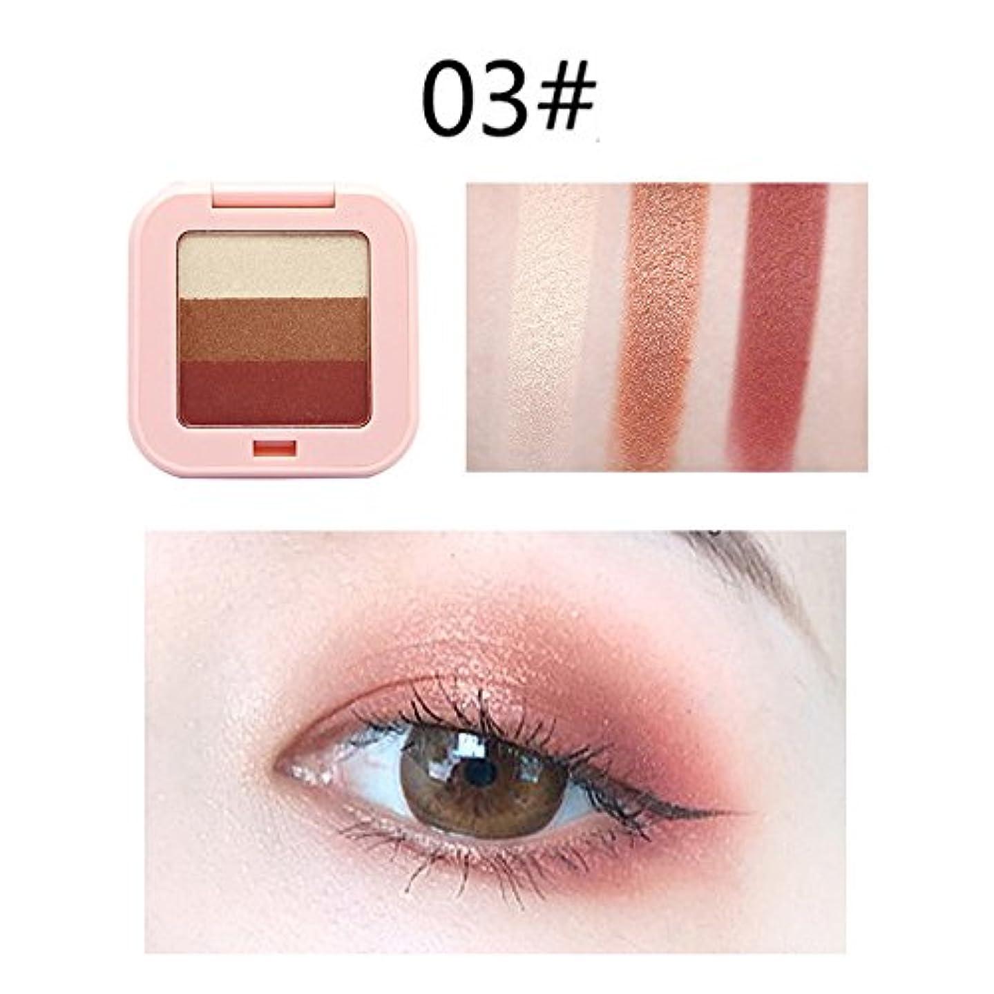 言い聞かせる関係ないアルミニウムLazayyii 3色アイシャドウ アイシャドウパレット Eye Shadow グリッターアイシャドウ パール マットマット高発色 透明感 保湿成分 暖色系 (C)