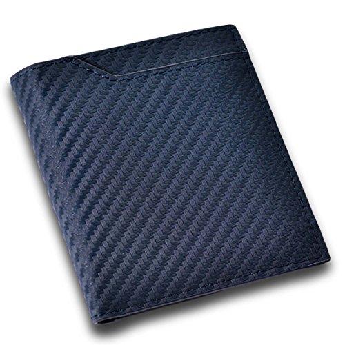 CRESTIA 二つ折り 財布 メンズ 一万円札がスっと入る ボックスタイプ 小銭入れ 薄型 コンパクト 全5色 (カーボンレザー(ネイビー))